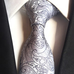 Handmade Tie // White + Light Gray Paisley