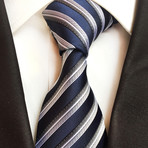 Handmade Tie // Navy + Grey Cross Stripe