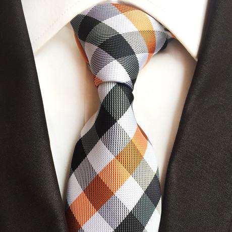 Handmade Tie // Orange + Black Check