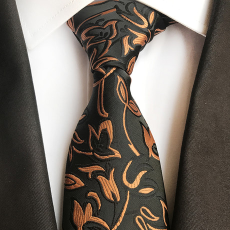 Handmade Tie // Black + Copper Leaf