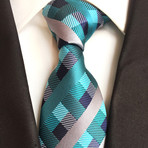 Handmade Tie // Teal + Navy + Grey Cross Stripe