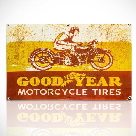 Goodyear Motorcycle Tires // Original Vintage Dealership Sign