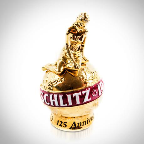 Schlitz Beer // 24K Gold Globe + Goddess // 1974 Vintage Decanter