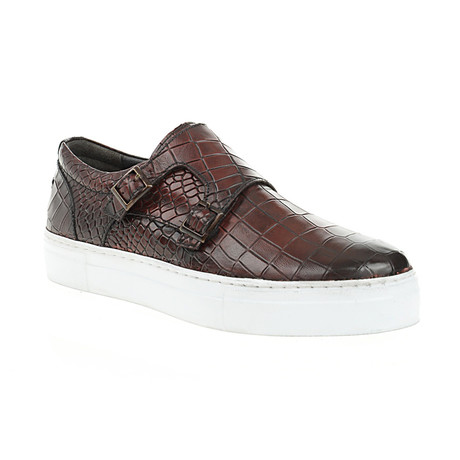 Crocodile Embossed Strapped Slip-On // Coffee (Euro: 40)