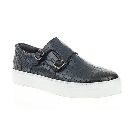 Crocodile Embossed Strapped Slip-On // Navy Blue (Euro: 40)