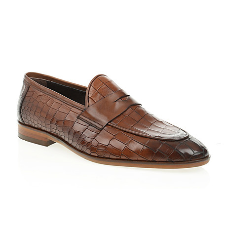 Pointed Crocodile Embossed Penny Loafer // Tobacco (Euro: 40)