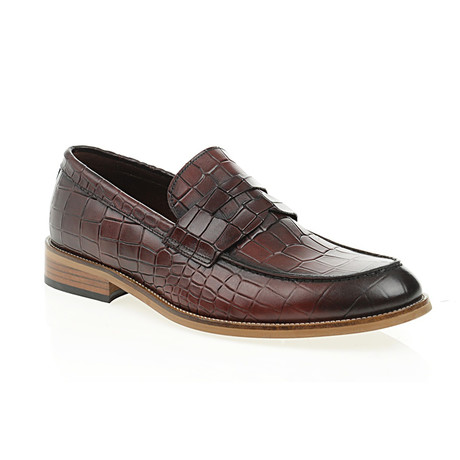 Crocodile Embossed Penny Loafer // Claret Red (Euro: 40)
