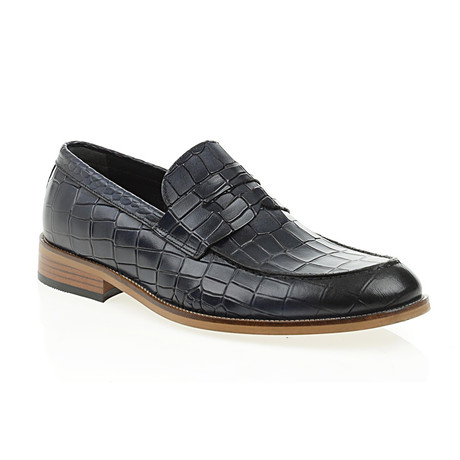 Crocodile Embossed Penny Loafer // Navy Blue (Euro: 40)