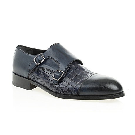 Crocodile Embossed Double Monk Strap // Navy Blue (Euro: 40)