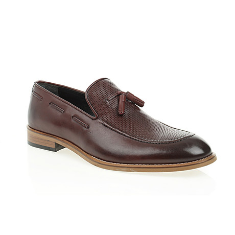 Perforated Tassel Loafer // Claret Red (Euro: 40)