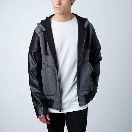 Hoodie W/ Synthetic Sleeve // Grey + Black (S)