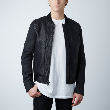 Leather Bomber W/ Waxed Canvas Sleeves // Black (S)
