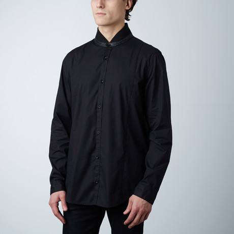 Leather Collar Button-Up // Black (S)