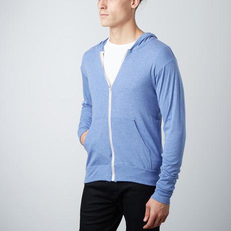 Ultra Soft Lightweight Tri-Blend Full Zip Hoodie // 2 Pack // Light Blue + Premium Heather (S)