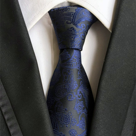 Hand Made Tie // Black + Navy Paisley