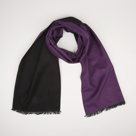 Lotus Double Scarf // Black + Dark Purple 930