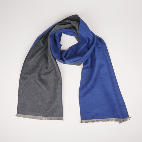 Lotus Double Scarf // Dark Gray + Blue 846