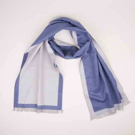Lotus Double Scarf // Gray + Indigo 344