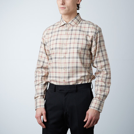 Plaid Dress Shirt // Tan (US: 14R)