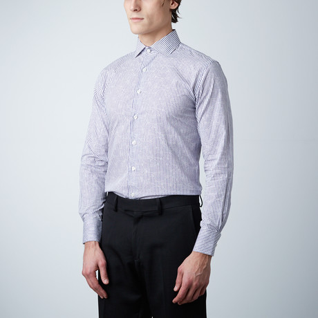 Pinstripe Dress Shirt // Purple (US: 14R)