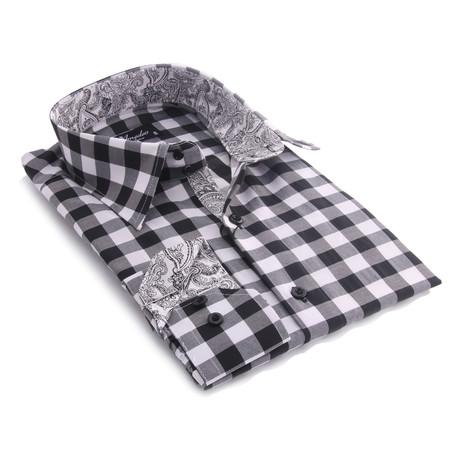 Reversible Cuff Button-Up Shirt // Black + White Checkered + Reversible Paisley (S)