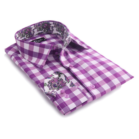 Reversible Cuff Button-Up Shirt // Purple + White Checkered + Colorful Paisley (XL)