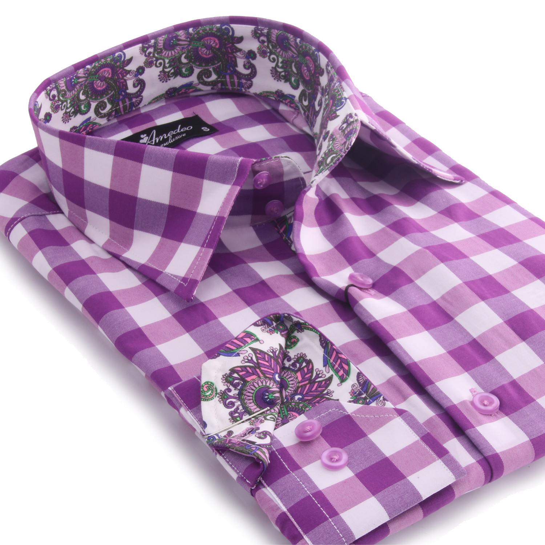 Reversible Cuff Button Down Shirt Purple White