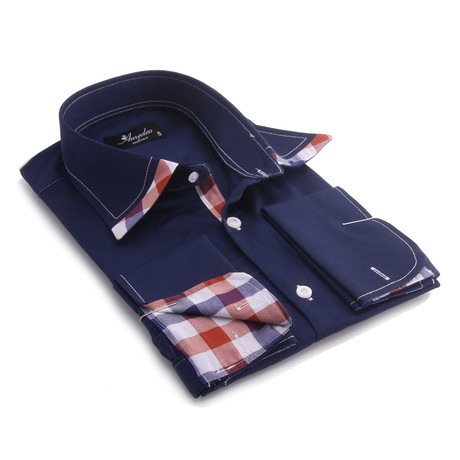 Reversible Cuff French Cuff Shirt // Navy Blue + Colorful Check (3XL)