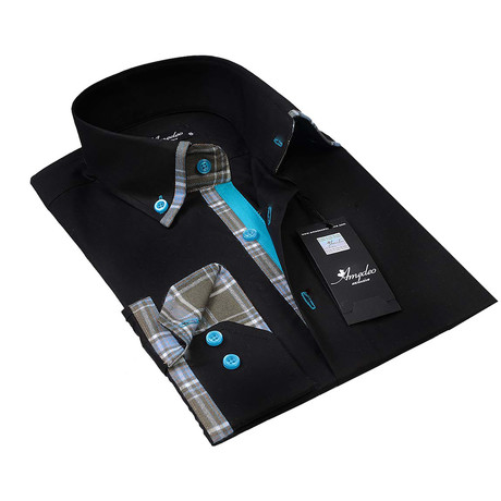 Reversible Cuff Button-Up Shirt // Black + Turquoise Checkered
