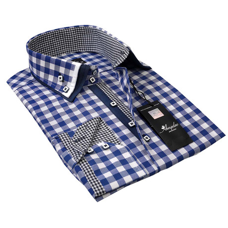 Reversible Cuff Button-Down Shirt // Checkered Blue + White (S)
