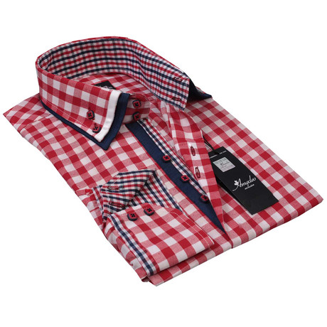 Reversible Cuff Button-Up Shirt // Red + White + Black Checker (S)