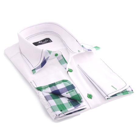 Reversible Cuff French Cuff Shirt // White + Green + Black Check (S)