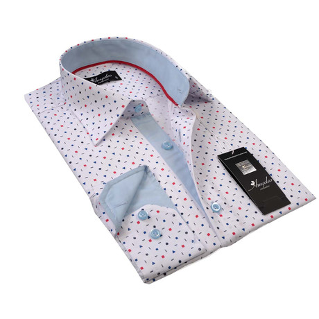 Reversible Cuff Button-Up Shirt // White + Multicolor (3XL)