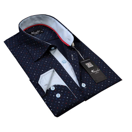 Reversible Cuff Button-Down Shirt // Navy Blue Colorful (S)