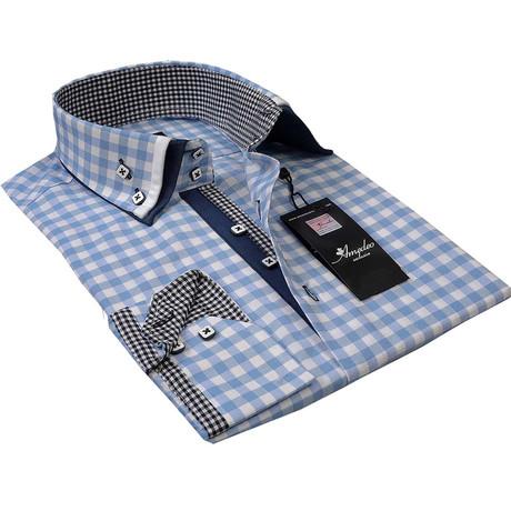 Reversible Cuff Button-Down Shirt // Light Blue Checkered (S)