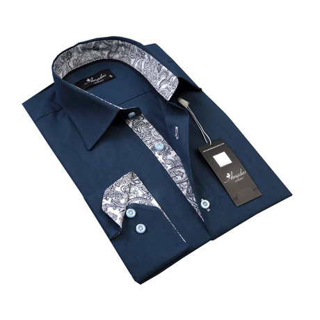 Reversible Cuff Button-Down Shirt // Medium Blue + White Paisley (S)