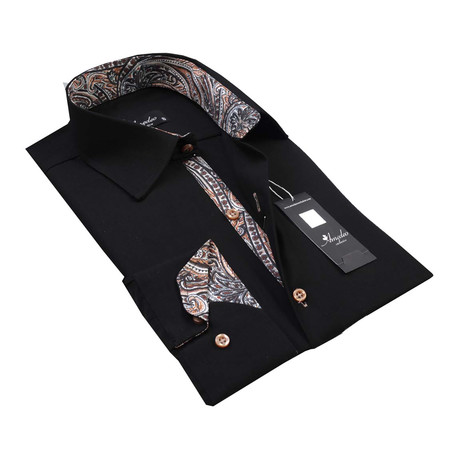 Reversible Cuff Button-Up Shirt // Black + Tan Paisley (S)