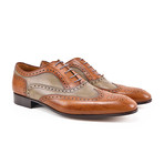 Fred // Oxford Wing Brogue // Tan + Olive (Euro: 41)