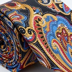 Xavian Tie // Red + Blue + Gold Paisley