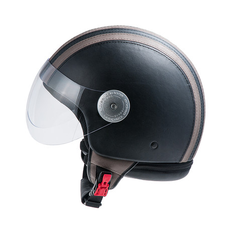 Striped Leather Helmet // Black + Gray