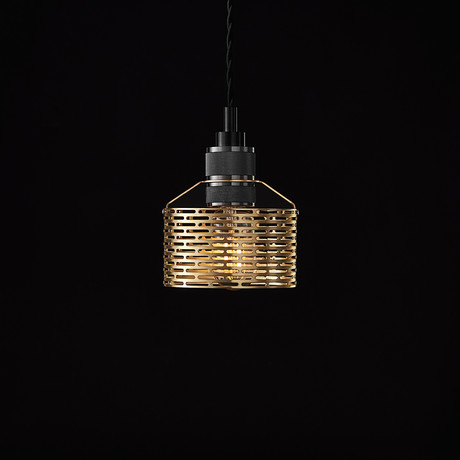 Halo Pekota Pendant // Brass + Black Chrome (1 Bulb)