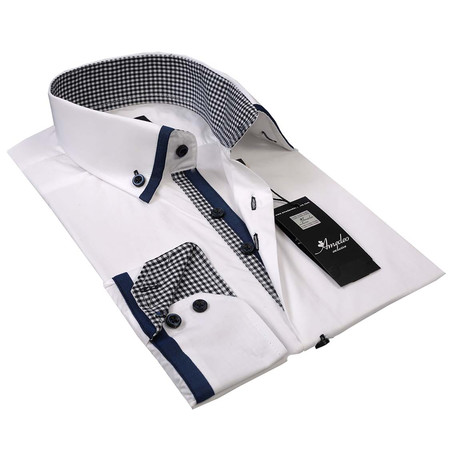 Reversible Cuff Button-Up Shirt // White + Blue Checkered (S)
