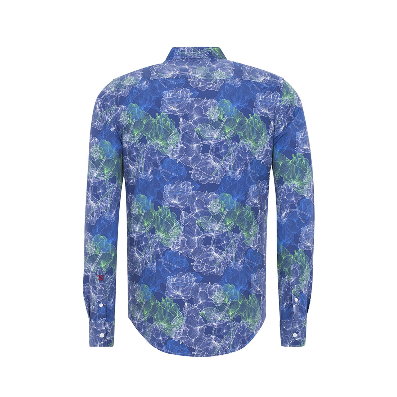 Button up shirt blue green floral print s jimmy for Floral print button up shirt