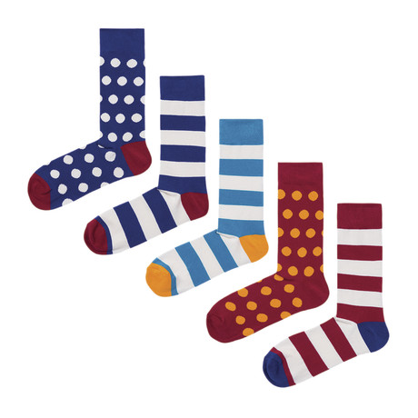 Dots & Stripes Socks // Pack of 5 (Size 36-40)