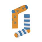 Palm Tree & Aqua Stripe Socks // Pack of 2 (Size 36-40)