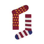 Red Spots & Stripes Socks // Pack of 2 (Size 36-40)