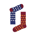 Blue & Red Spot Socks // Pack of 2 (Size 36-40)