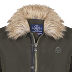 Fur Trim Winter Coat // Khaki (XS)