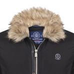 Fur Trim Winter Coat // Black (XS)