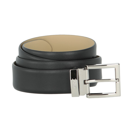 Armani Collezioni Leather Belt With Branded Buckle // Black